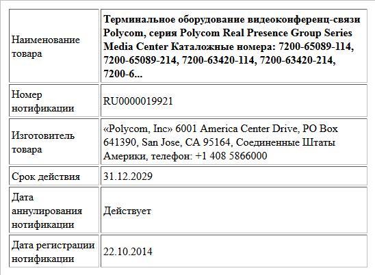 Терминальное оборудование видеоконференц-связи Polycom, серия Polycom Real Presence Group Series Media Center Каталожные номера: 7200-65089-114, 7200-65089-214, 7200-63420-114, 7200-63420-214, 7200-6...