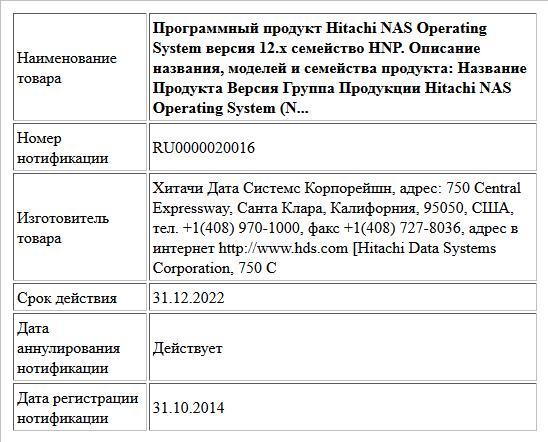 Программный продукт Hitachi NAS Operating System версия 12.х семейство HNP. Описание названия, моделей и семейства продукта: Название Продукта Версия Группа Продукции Hitachi NAS Operating System (N...