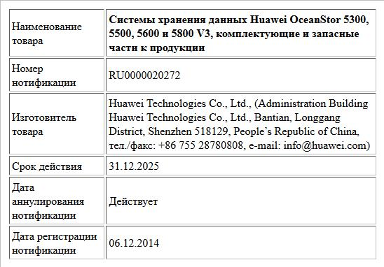 Системы хранения данных Huawei OceanStor 5300, 5500, 5600 и 5800 V3, комплектующие и запасные части к продукции