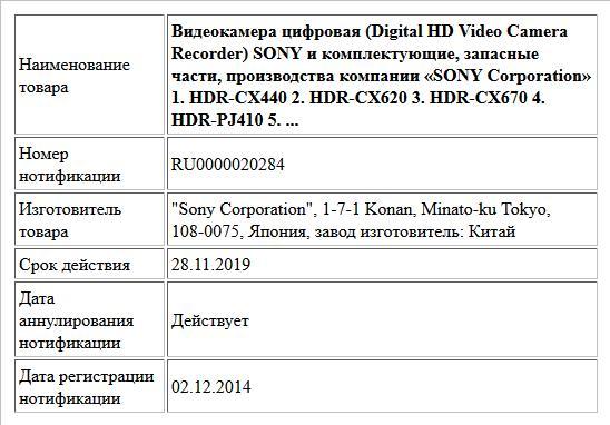 Видеокамера цифровая (Digital HD Video Camera   Recorder) SONY  и комплектующие, запасные части, производства компании   «SONY Corporation»  1. HDR-CX440  2. HDR-CX620  3. HDR-CX670  4. HDR-PJ410  5. ...