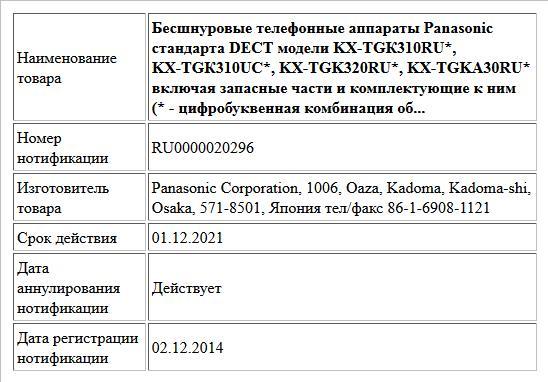 Бесшнуровые телефонные аппараты Panasonic стандарта DECT модели KX-TGК310RU*, KX-TGК310UC*, KX-TGK320RU*, KX-TGKА30RU* включая запасные части и комплектующие к ним  (* - цифробуквенная  комбинация об...