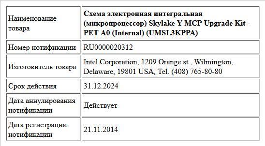 Схема электронная интегральная (микропроцессор) Skylake Y MCP Upgrade Kit - PET A0 (Internal) (UMSL3KPPA)