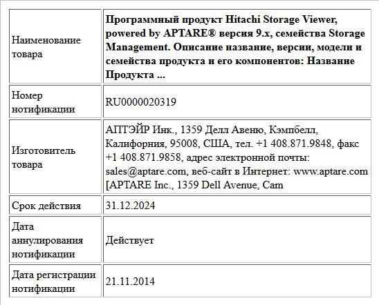 Программный продукт Hitachi Storage Viewer, powered by APTARE® версия 9.х, семейства Storage Management.  Описание название, версии, модели и семейства продукта и его компонентов:  Название Продукта ...