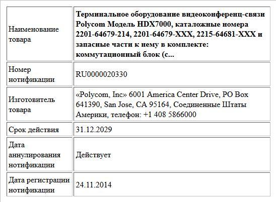Терминальное оборудование видеоконференц-связи Polycom Модель HDX7000, каталожные номера 2201-64679-214, 2201-64679-XXX,  2215-64681-XXX и запасные части к нему в комплекте: коммутационный блок (c...