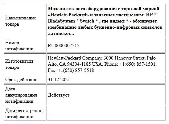 Модели сетевого оборудования с торговой маркой «Hewlett-Packard» и запасные части к ним: HP * BladeSystem * Switch * , где индекс * - обозначает комбинацию любых буквенно-цифровых символов латинског...