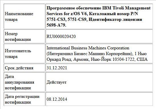 Программное обеспечение IBM Tivoli Management Services for z/OS V6, Каталожный номер P/N 5751-CS3, 5751-CS9, Идентификатор лицензии 5698-A79.