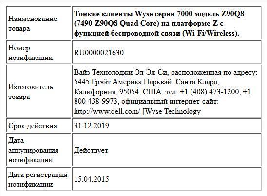 Тонкие клиенты Wyse серии 7000 модель Z90Q8 (7490-Z90Q8 Quad Core) на платформе-Z с функцией беспроводной связи (Wi-Fi/Wireless).