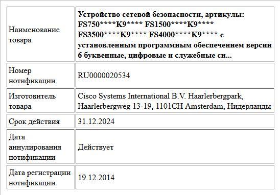 Устройство сетевой безопасности, артикулы:  FS750****K9****  FS1500****K9****  FS3500****K9****  FS4000****K9****  с установленным программным обеспечением версии 6  буквенные, цифровые и служебные си...