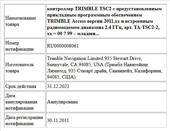 контроллер TRIMBLE TSC2 с предустановленным  прикладным программным обеспечением TRIMBLE Access версии 2011.xx и встроенным  радиомодемом диапазона 2.4 ГГц,  арт. TA-TSC2-2,  xx = 00 ? 99 – младши...