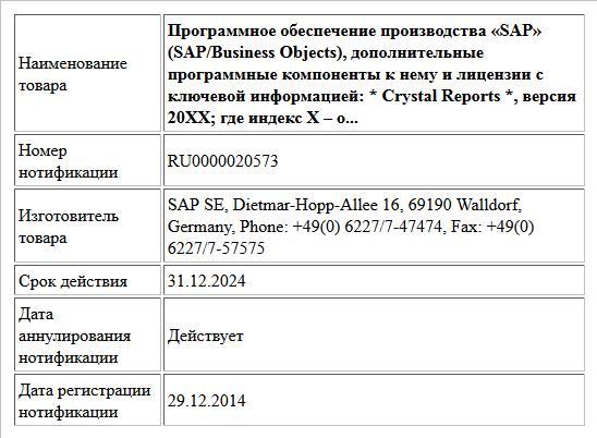 Программное обеспечение производства «SAP» (SAP/Business Objects), дополнительные программные компоненты к нему и лицензии с ключевой информацией:  * Crystal Reports *, версия 20XX;  где  индекс X – о...