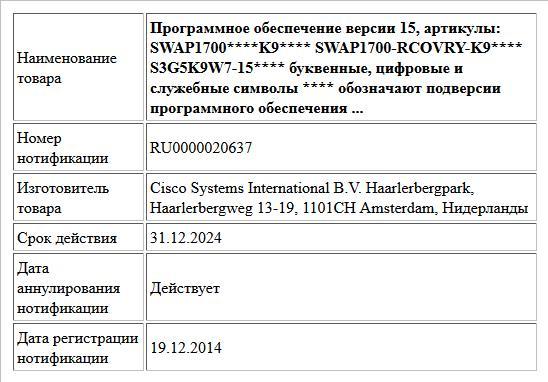 Программное обеспечение версии 15, артикулы: SWAP1700****K9**** SWAP1700-RCOVRY-K9**** S3G5K9W7-15**** буквенные, цифровые и служебные символы **** обозначают подверсии программного  обеспечения ...
