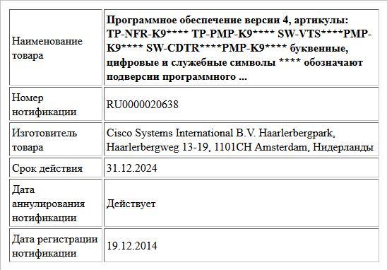 Программное обеспечение версии 4, артикулы: TP-NFR-K9**** TP-PMP-K9**** SW-VTS****PMP-K9**** SW-CDTR****PMP-K9**** буквенные, цифровые и служебные символы **** обозначают подверсии программного  ...