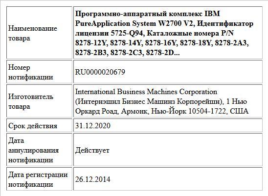 Программно-аппаратный комплекс IBM PureApplication System W2700 V2, Идентификатор лицензии 5725-Q94, Каталожные номера P/N 8278-12Y, 8278-14Y, 8278-16Y, 8278-18Y, 8278-2A3, 8278-2B3, 8278-2C3, 8278-2D...