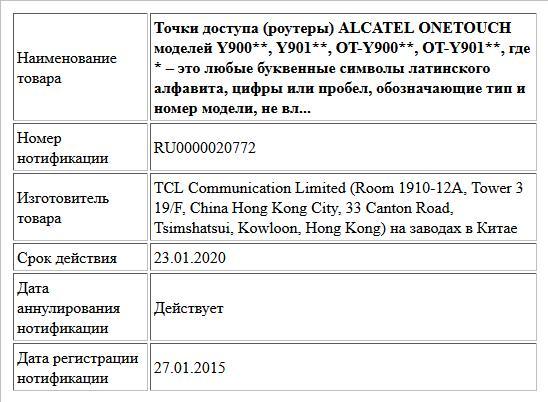 Точки доступа (роутеры) ALCATEL ONETOUCH моделей Y900**, Y901**, OT-Y900**, OT-Y901**, где * – это любые буквенные символы латинского алфавита, цифры или пробел, обозначающие тип и номер модели, не вл...