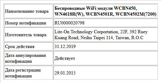 Беспроводные WiFi модули WCBN450, WN4618R(W), WCBN4501R, WCBN4502M(7200)