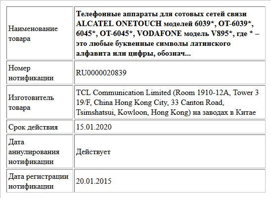 Телефонные аппараты для сотовых сетей связи ALCATEL ONETOUCH моделей 6039*, OT-6039*, 6045*, OT-6045*, VODAFONE модель V895*, где * – это любые буквенные символы латинского алфавита или цифры, обознач...