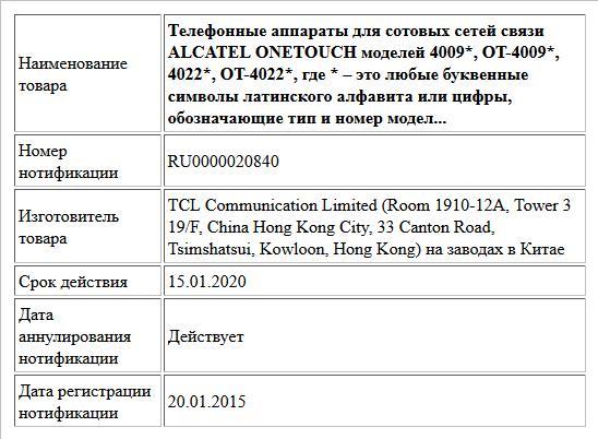 Телефонные аппараты для сотовых сетей связи ALCATEL ONETOUCH моделей 4009*, OT-4009*, 4022*, OT-4022*, где * – это любые буквенные символы латинского алфавита или цифры, обозначающие тип и номер модел...