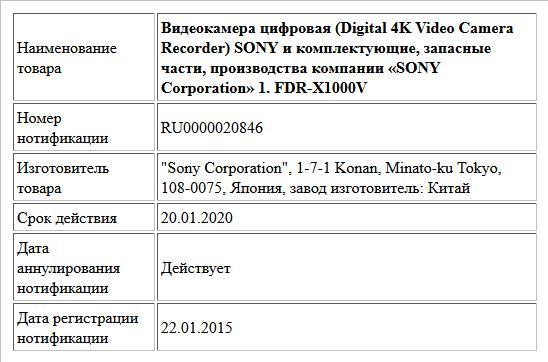 Видеокамера цифровая (Digital 4K Video Camera Recorder) SONY  и комплектующие, запасные части, производства компании «SONY Corporation»  1. FDR-X1000V