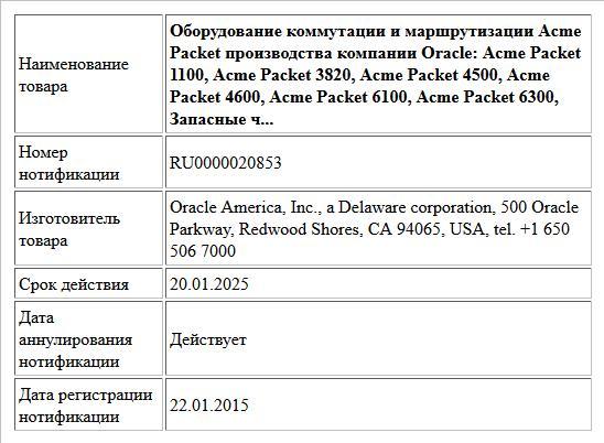 Оборудование коммутации и маршрутизации Acme Packet производства компании Oracle: Acme Packet 1100, Acme Packet 3820, Acme Packet 4500, Acme Packet 4600, Acme Packet 6100, Acme Packet 6300, Запасные ч...
