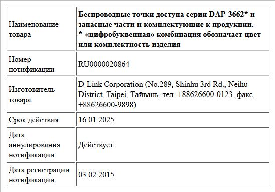 Беспроводные точки доступа серии DAP-3662* и запасные части и комплектующие к продукции.  *-«цифробуквенная» комбинация обозначает цвет или комплектность изделия