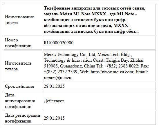 Телефонные аппараты для сотовых сетей связи, модель Meizu M1 Note MXXX , где M1 Note - комбинация латинских букв или цифр, обозначающих название модели,  MXXX - комбинация латинских букв или цифр обоз...