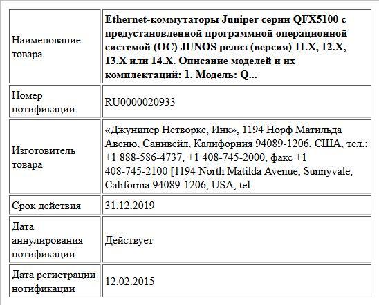 Ethernet-коммутаторы Juniper серии QFX5100 с предустановленной программной операционной системой (ОС) JUNOS релиз (версия) 11.X, 12.X, 13.Х или 14.Х.  Описание моделей и их комплектаций:  1. Модель: Q...