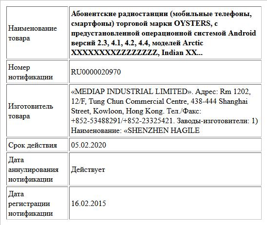 Абонентские радиостанции (мобильные телефоны, смартфоны) торговой марки OYSTERS, с предустановленной операционной системой Android версий 2.3, 4.1, 4.2, 4.4, моделей Arctic XXXXXXXXZZZZZZZZ, Indian XX...
