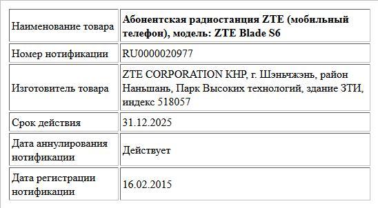 Абонентская радиостанция ZTE (мобильный телефон), модель: ZTE Blade S6
