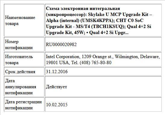 Схема электронная интегральная (микропроцессор): Skylake U MCP Upgrade Kit – Alpha (internal) (UMSK4KPPA); CHT C0 SoC Upgrade Kit - MS/T4  (TBCH1KSUQ); Qual 4+2 Si Upgrade Kit, 45W; • Qual 4+2 Si Upgr...