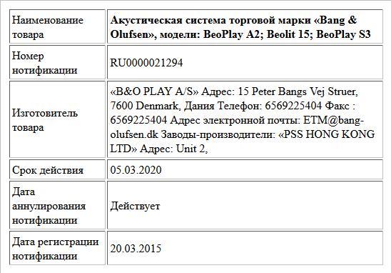 Акустическая система торговой марки «Bang & Olufsen», модели: BeoPlay A2; Beolit 15; BeoPlay S3