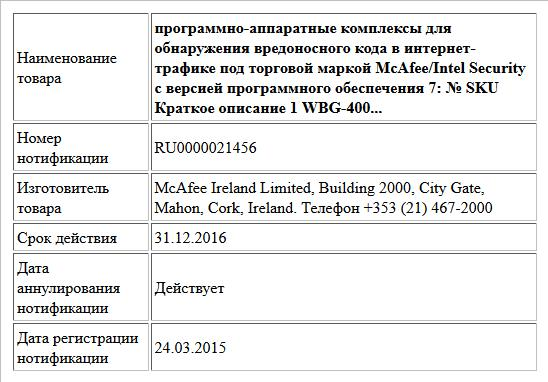 программно-аппаратные комплексы для обнаружения вредоносного кода в интернет-трафике под торговой маркой McAfee/Intel Security с версией  программного обеспечения 7:  № SKU Краткое описание  1 WBG-400...
