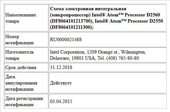 Схема электронная интегральная (микропроцессор)  Intel® Atom™ Processor D2560 (DF8064101213700),  Intel® Atom™ Processor D2550 (DF8064101211300);