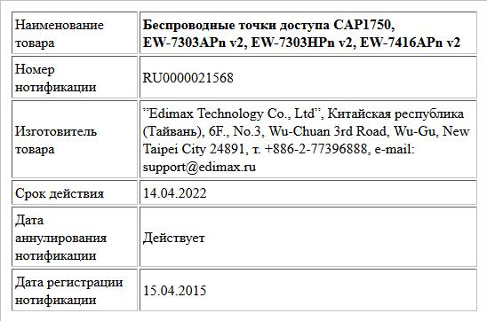 Беспроводные точки доступа CAP1750, EW-7303APn v2, EW-7303HPn v2, EW-7416APn v2