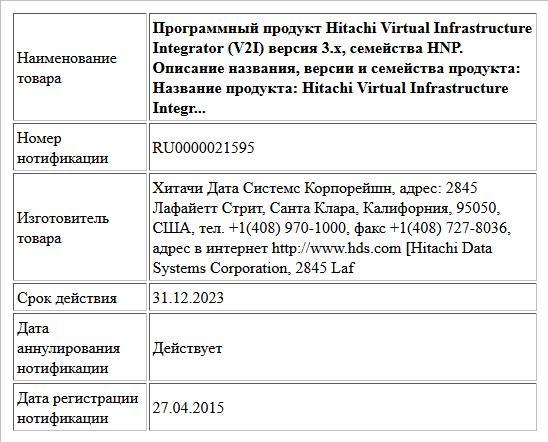 Программный продукт Hitachi Virtual Infrastructure Integrator (V2I) версия 3.x, семейства HNP. Описание названия, версии и семейства продукта: Название продукта: Hitachi Virtual Infrastructure Integr...