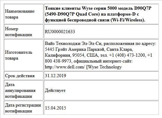Тонкие клиенты Wyse серии 5000 модель D90Q7P (5490-D90Q7P Quad Core) на платформе-D с функцией беспроводной связи (Wi-Fi/Wireless).