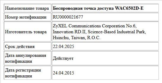 Беспроводная точка доступа WAC6502D-E