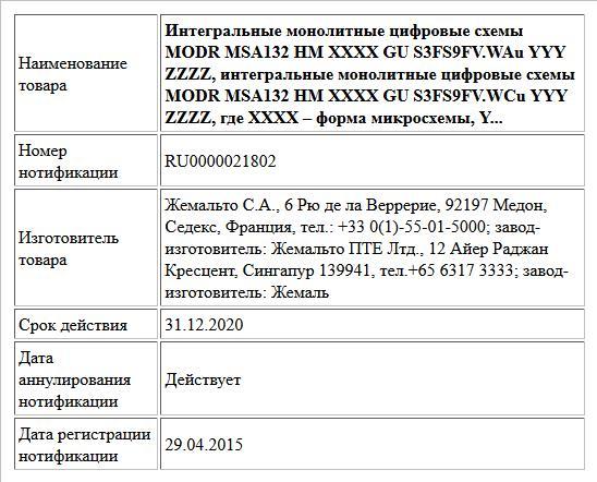 Интегральные монолитные цифровые схемы   MODR MSA132 HM XXXX GU S3FS9FV.WAu YYY ZZZZ, интегральные монолитные цифровые схемы MODR MSA132 HM XXXX GU S3FS9FV.WCu YYY ZZZZ, где XXXX – форма микросхемы, Y...