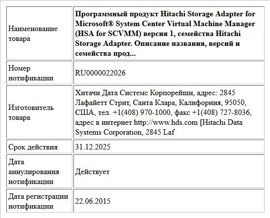 Программный продукт Hitachi Storage Adapter for Microsoft® System Center Virtual Machine Manager (HSA for SCVMM) версия 1, семейства Hitachi Storage Adapter. Описание названия, версий и семейства прод...