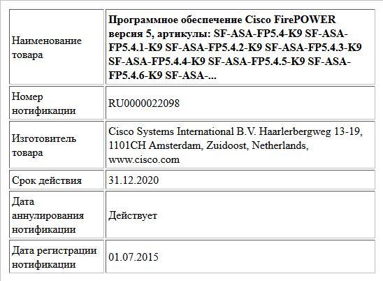 Программное обеспечение Cisco FirePOWER версия 5, артикулы:   SF-ASA-FP5.4-K9  SF-ASA-FP5.4.1-K9  SF-ASA-FP5.4.2-K9  SF-ASA-FP5.4.3-K9  SF-ASA-FP5.4.4-K9  SF-ASA-FP5.4.5-K9  SF-ASA-FP5.4.6-K9  SF-ASA-...