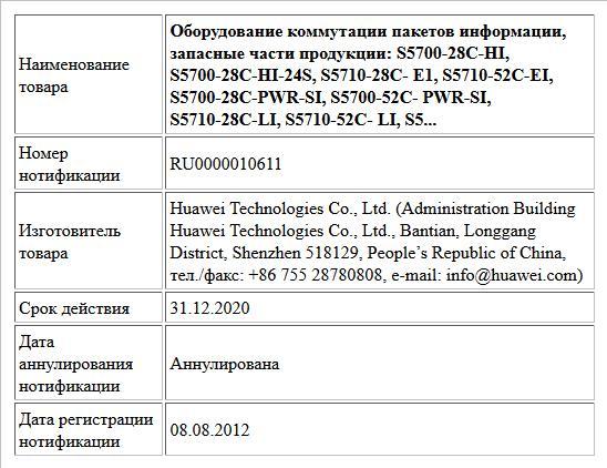 Оборудование коммутации пакетов информации, запасные части продукции:  S5700-28C-HI, S5700-28C-HI-24S, S5710-28C- E1, S5710-52C-EI, S5700-28C-PWR-SI, S5700-52C- PWR-SI, S5710-28C-LI, S5710-52C- LI, S5...