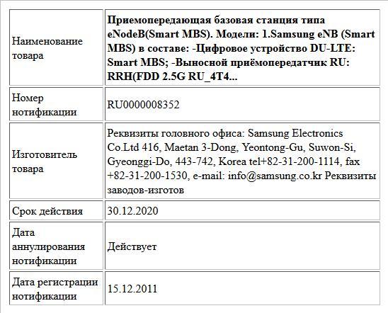 Приемопередающая базовая станция типа eNodeB(Smart MBS).   Модели:   1.Samsung eNB (Smart MBS) в составе:   -Цифровое устройство DU-LTE: Smart MBS;   -Выносной приёмопередатчик RU: RRH(FDD 2.5G RU_4T4...