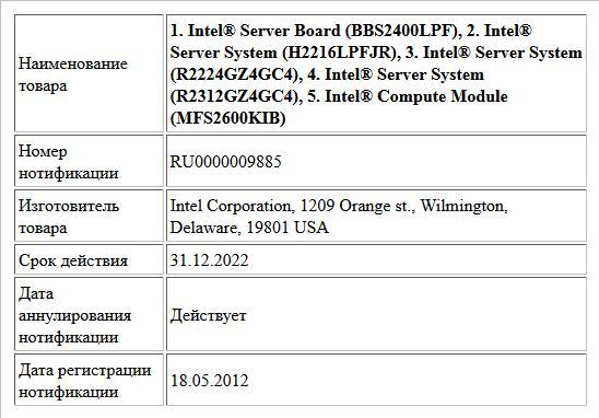 1. Intel® Server Board (BBS2400LPF),  2. Intel® Server System (H2216LPFJR),  3. Intel® Server System (R2224GZ4GC4),  4. Intel® Server System (R2312GZ4GC4),  5. Intel® Compute Module (MFS2600KIB)