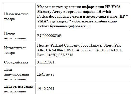 Модели систем хранения информации HP VMA Memory Array с торговой маркой «Hewlett-Packard», запасные части и аксессуары к ним:  HP * VMA*,  где индекс * - обозначает комбинацию любых буквенно-цифровых ...