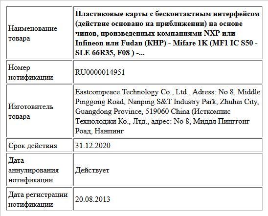 Пластиковые карты с бесконтактным интерфейсом (действие основано на приближении) на основе чипов, произведенных компаниями NXP или Infineon или Fudan (КНР) - Mifare 1K (MF1 IC S50 - SLE 66R35, F08 ) -...