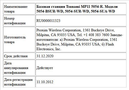 Базовая станция Tsunami MP11 5054-R. Модели 5054-BSUR-WD, 5054-SUR-WD, 5054-SUA-WD