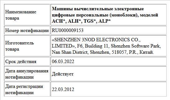 Машины вычислительные электронные цифровые персональные (моноблоки), моделей  ACH*, ALH*, TGS*, ALP*