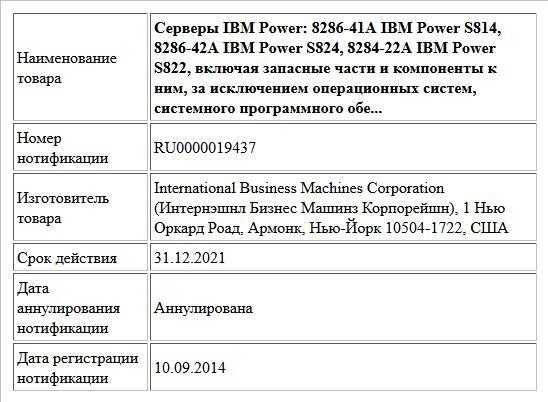 Серверы IBM Power: 8286-41А IBM Power S814, 8286-42А IBM Power S824, 8284-22A IBM Power S822, включая запасные части и компоненты к ним, за исключением операционных систем, системного программного обе...