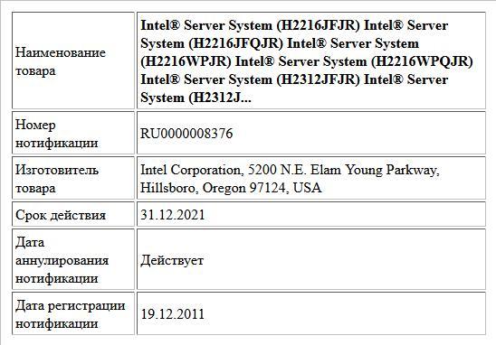 Intel® Server System (H2216JFJR) Intel® Server System (H2216JFQJR) Intel® Server System (H2216WPJR) Intel® Server System (H2216WPQJR) Intel® Server System (H2312JFJR) Intel® Server System (H2312J...