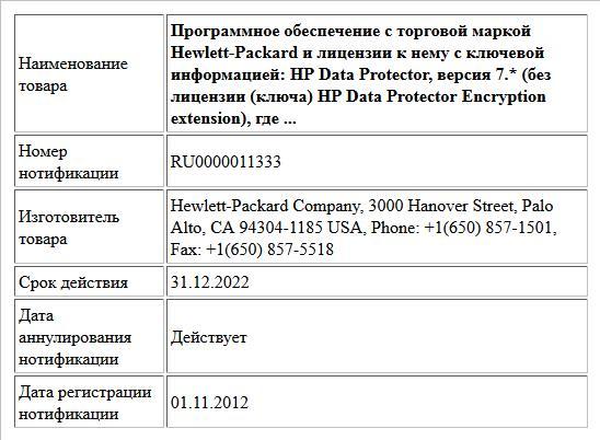 Программное обеспечение с торговой маркой Hewlett-Packard и лицензии к нему с ключевой информацией:  HP Data Protector, версия 7.*  (без лицензии (ключа) HP Data Protector Encryption extension),  где ...