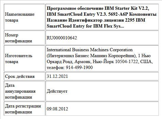 Программное обеспечение IBM Starter Kit V2.2, IBM SmartCloud Entry V2.3. 5692-A6P               Компоненты Название Идентификатор  лицензии                2295 IBM SmartCloud Entry for IBM Flex Sys...